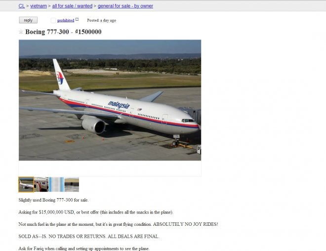 Fake Craigslist ad featuring missing Malaysia airlines flight