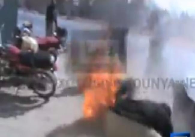 Pakistani Woman sets herself on fire
