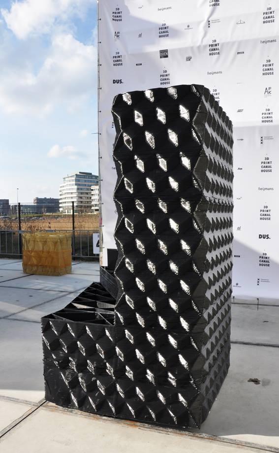 A 3 metre-high block printed from bioplastic Macromelt