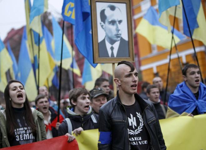 Activists of the Svoboda (Freedom) Ukrainian nationalist party