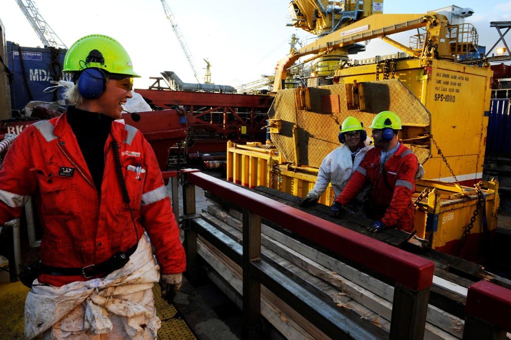 Oil Workers Oseberg Oil Field North Sea