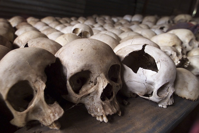 Skulls of Rwandan genocide victims at the Ntarama Genocide Memorial, near the nation's capital Kigali.