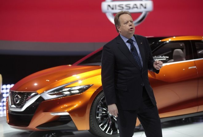 Nissan's executive vice-president and chief planning officer Andy Palmer unveils the new Nissan Sport Sedan Concept at the North American International Auto Show in Detroit, Michigan.