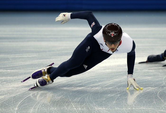 A British team short track speed skater practices in preparation for the 2014 Sochi Winter Olympics.