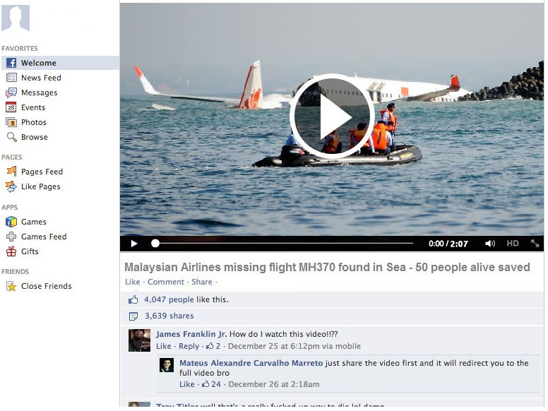 'Missing Malaysia Airlines Flight MH370 Found in Bermuda Triangle' Alike Fake Stories Posted by Hackers on Facebook