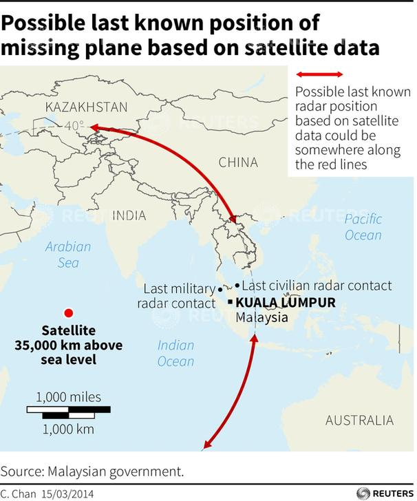 Maps showing the possible last known position of Malaysia Airlines flight MH370 based on satellite data.