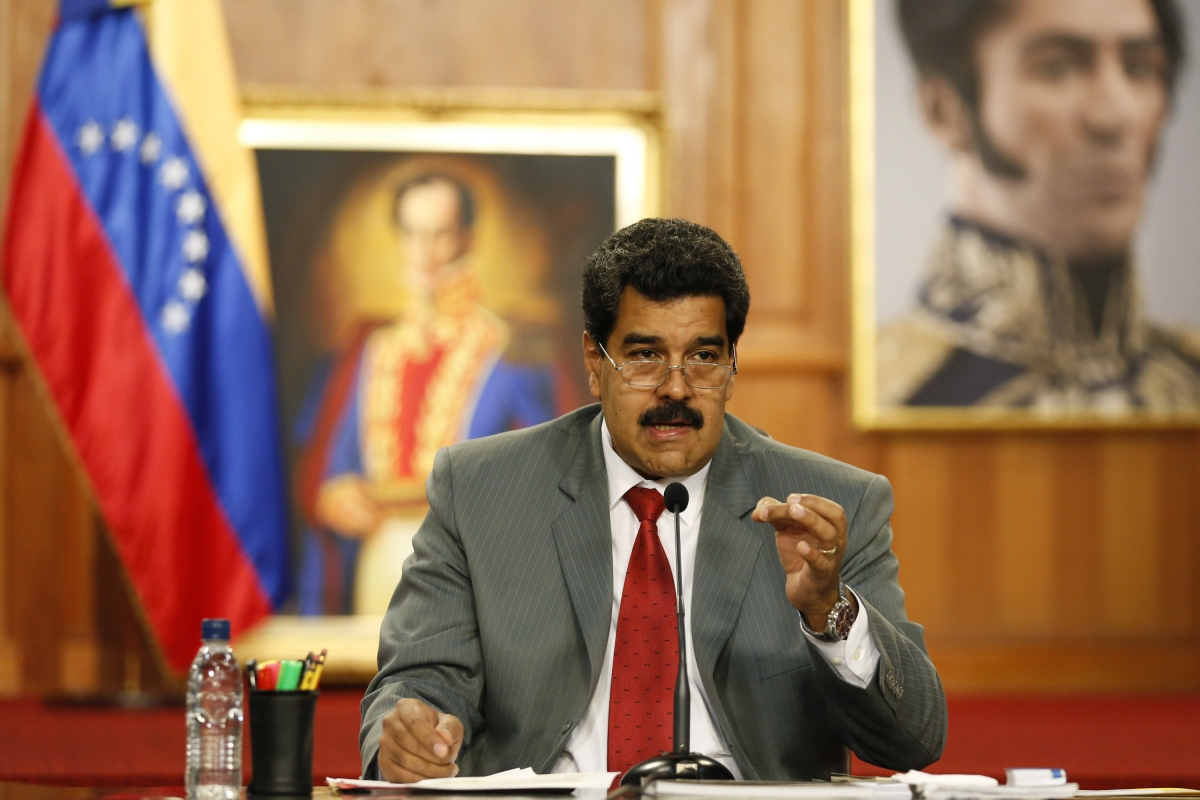 Venezualan president Nicolas Maduro at a press conference in Caracas on Thursday.