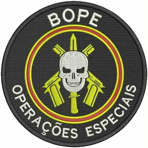The BOPE Faca na carveira (knife in skull) logo.