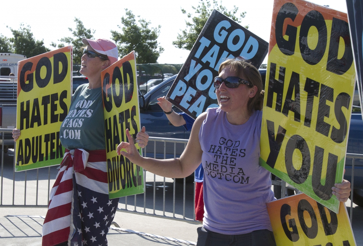 members of westboro baptist church vs A jury held members of the westboro baptist church liable for millions of dollars in damages for picketing near a soldier's funeral service the picket signs reflected the church's view that the united states is overly tolerant of sin and that god kills american soldiers as punishment.