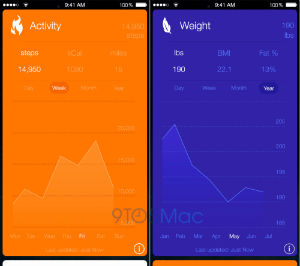 Apple's Healthbook App screenshot - Activity and Weight tracking