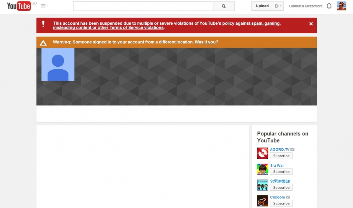 Russia Today YouTube account blocked