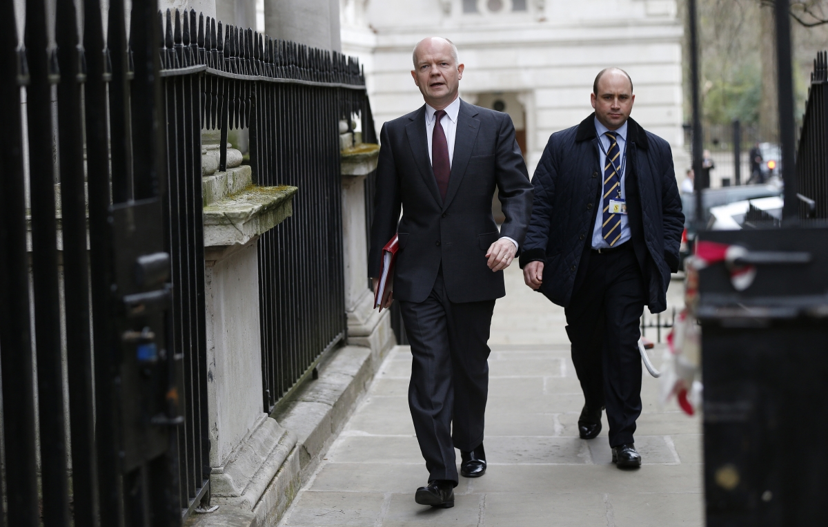 Britain's Foreign Secretary William Hague arrives for a cabinet meeting at 10 Downing Street in London
