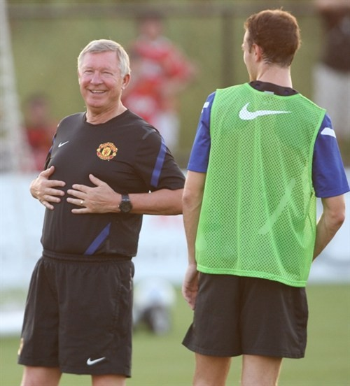 Sir Alex has fun at training.