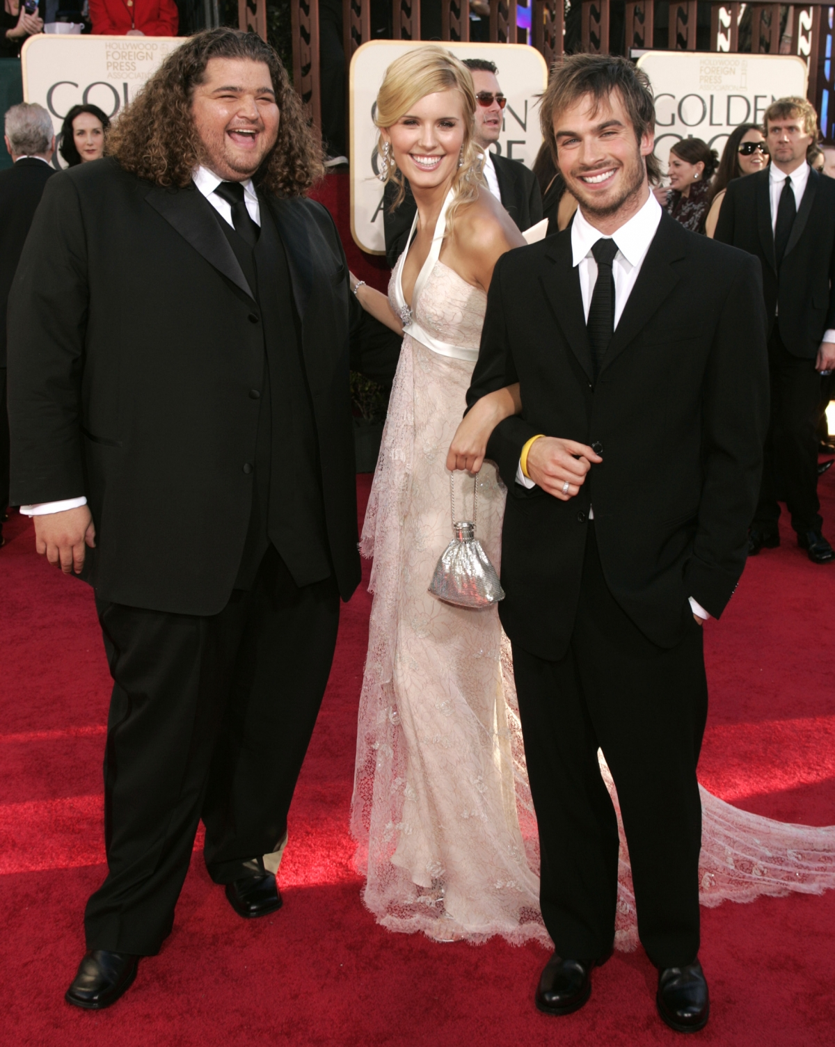 The cast of the television series Lost, Jorge Garcia, Maggie Grace and Ian Somerhalder (L-R) at the 62nd annual Golden Globe Awards in Beverly Hills, California in 2005.