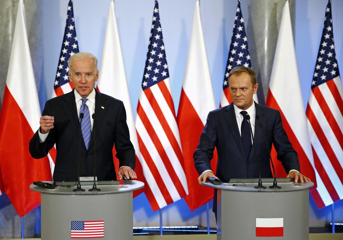 US Vice President Joe Biden Polish PM Donald Tusk Warsaw