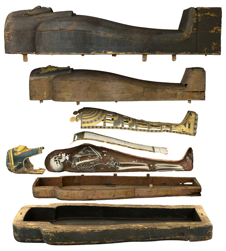 Museum visitors can now view Neswaiu's coffins and mumy wrappings using a virtual autopsy table