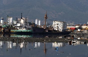 Pollution in Fundao beach in the Guanabara Bay in Rio de Janeiro