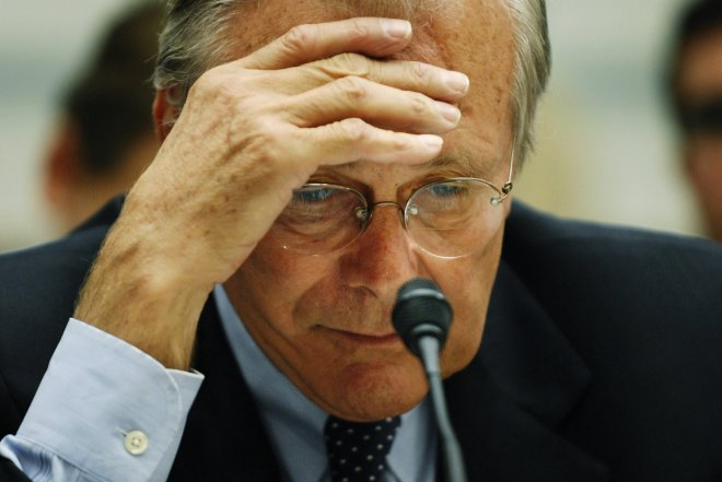 Former US Defence Secretary Donald Rumsfeld during a government hearing on combat deaths in Afghanistan