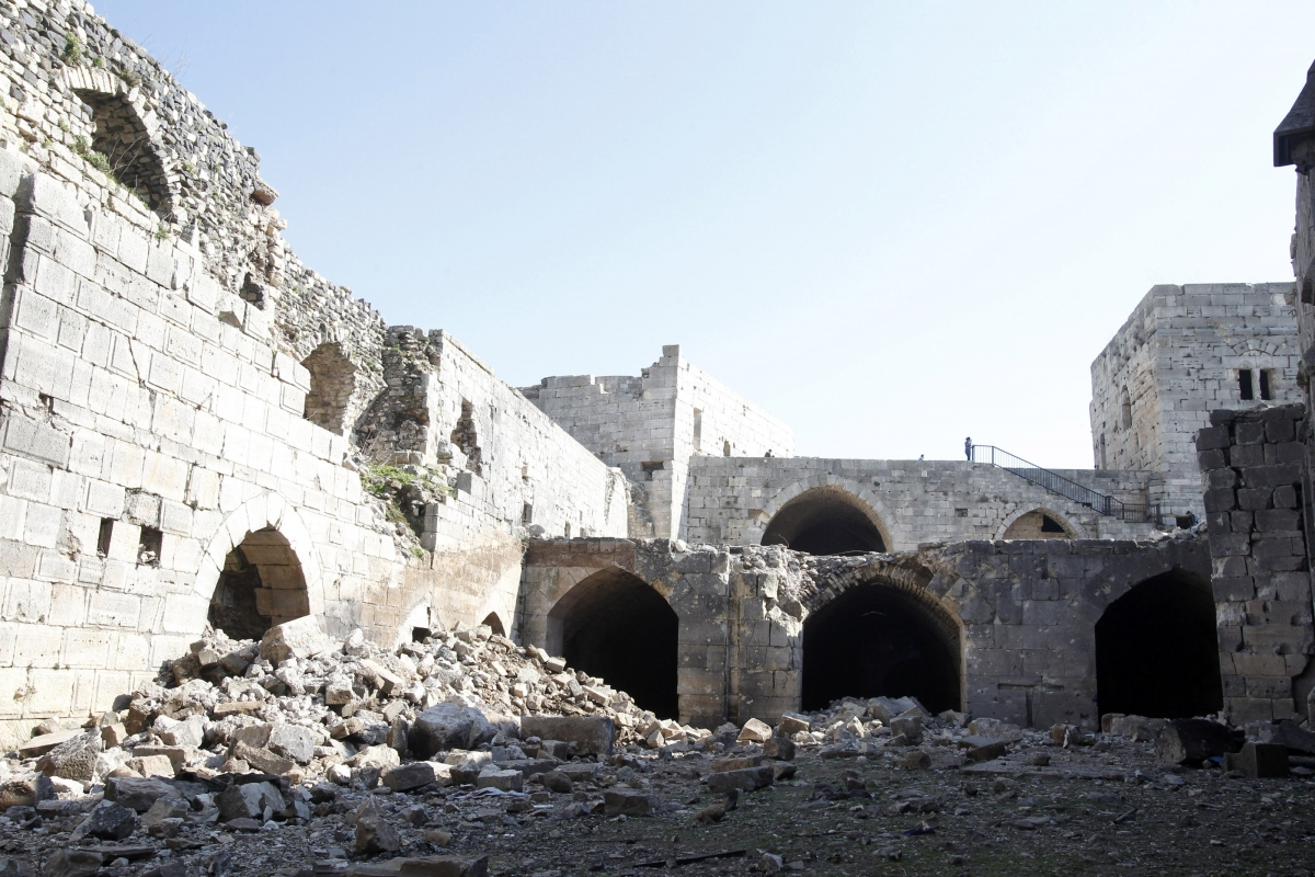 Picture showing damage to the interior of the fortress.