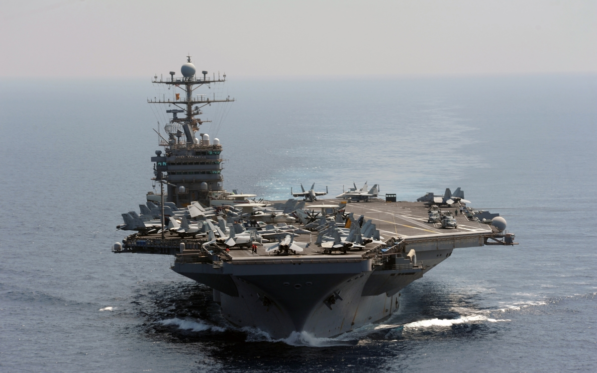 The USS Abraham Lincoln on maneuvers in the Persian Gulf in 2012.
