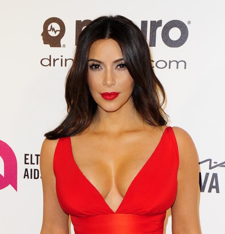 Kim Kardashian at the 2014 Elton John AIDS Foundation Oscar Party in Hollywood