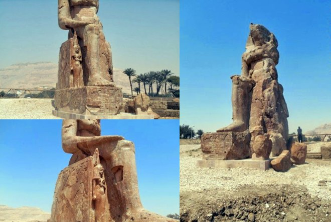 Two additional colossal statues of Pharaoh Amenhotep III have been restored and raised in Luxor