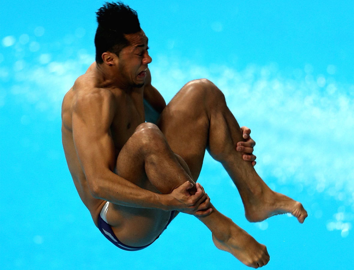 Jahir Ocampo of Mexico dives in the Mens 3m Springboard semi final