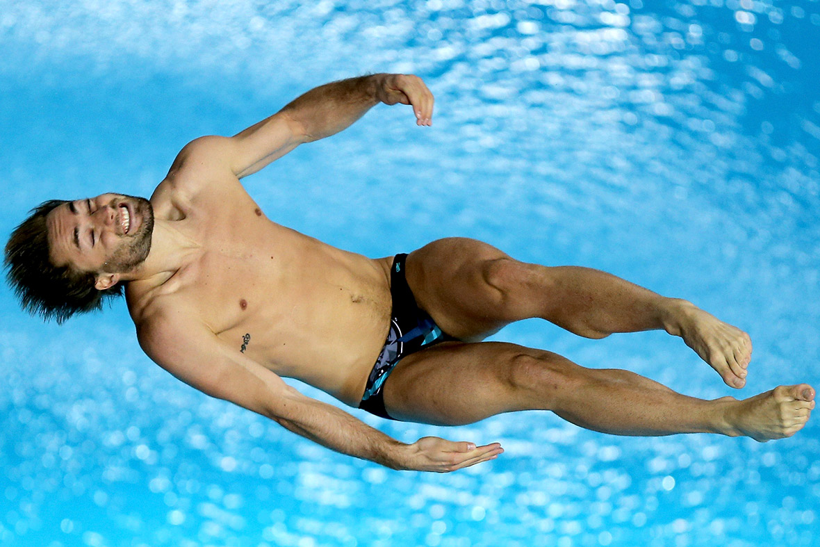 Maicol Verzotto of Italy dives in the Mens 10m Platform semi final