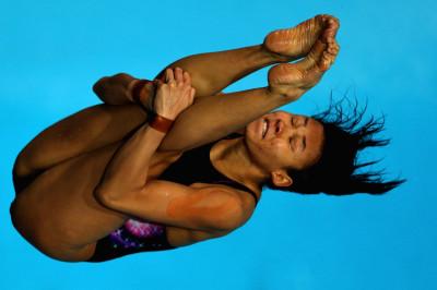 Pandelela Rinong Pamg of Malaysia dives in the Womens 10m Platform final