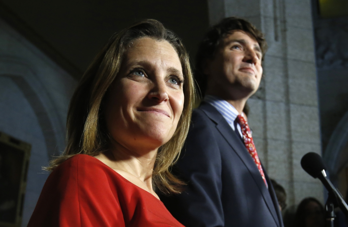 Liberal leader Justin Trudeau takes part in a news conference with Chrystia Freeland (L),