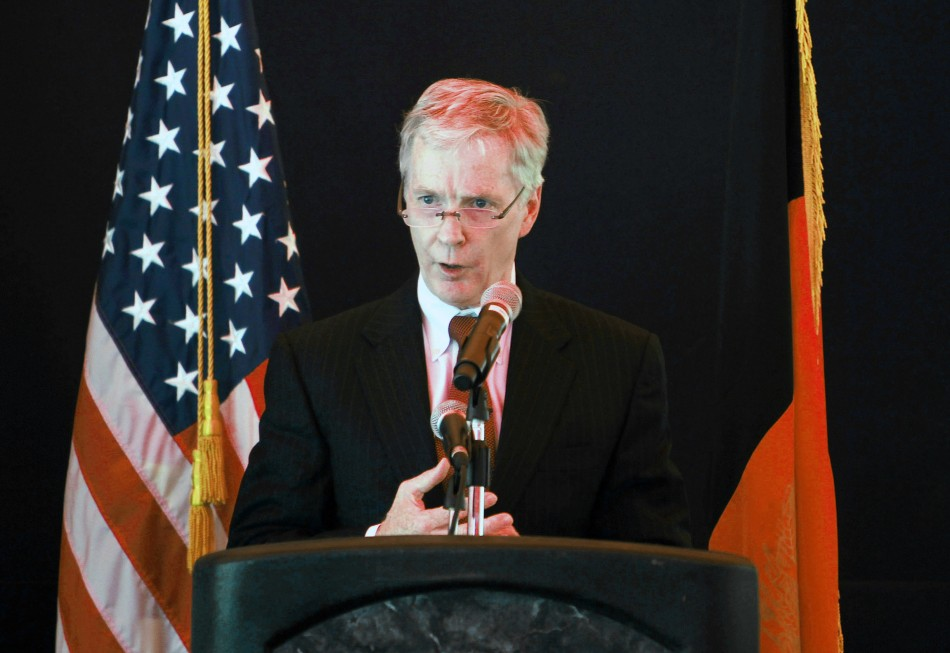 U.S Ambassador to Afghanistan Ryan Crocker speaks during an event at the U.S. embassy in Kabul