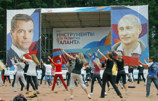 Russia Exercise Nashi Putin Medvedev Stalin