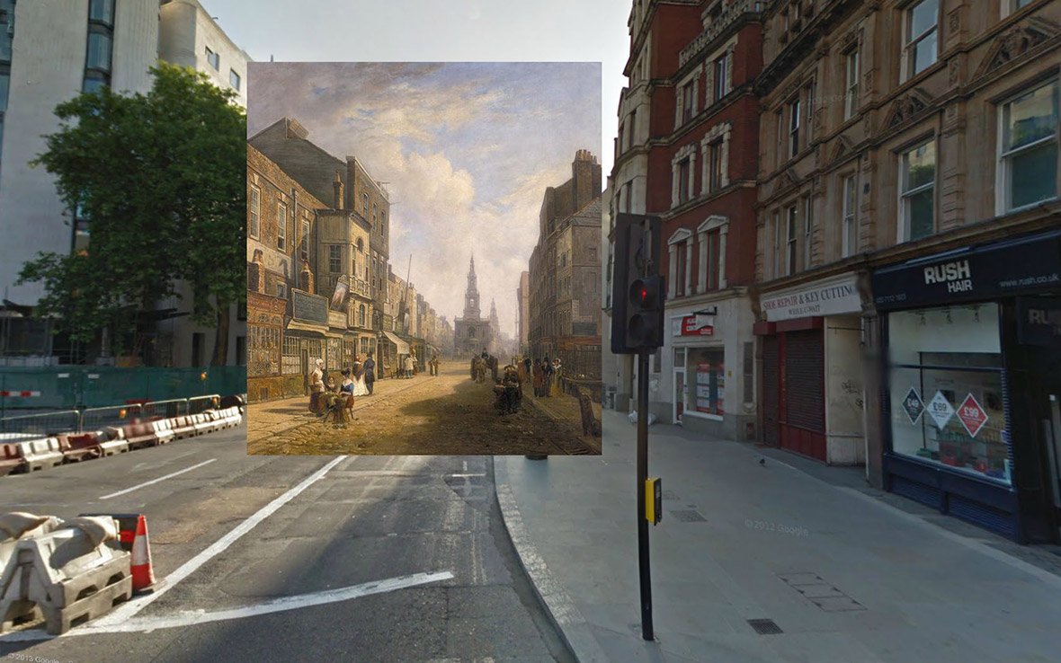 The Strand Looking East from Exeter Exchange 1822 Artist Unknown