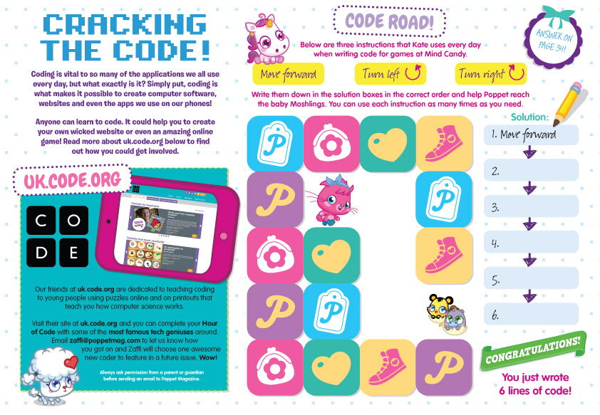 Poppet magazine offers young girls coding challenges and they can join the Tech Squad