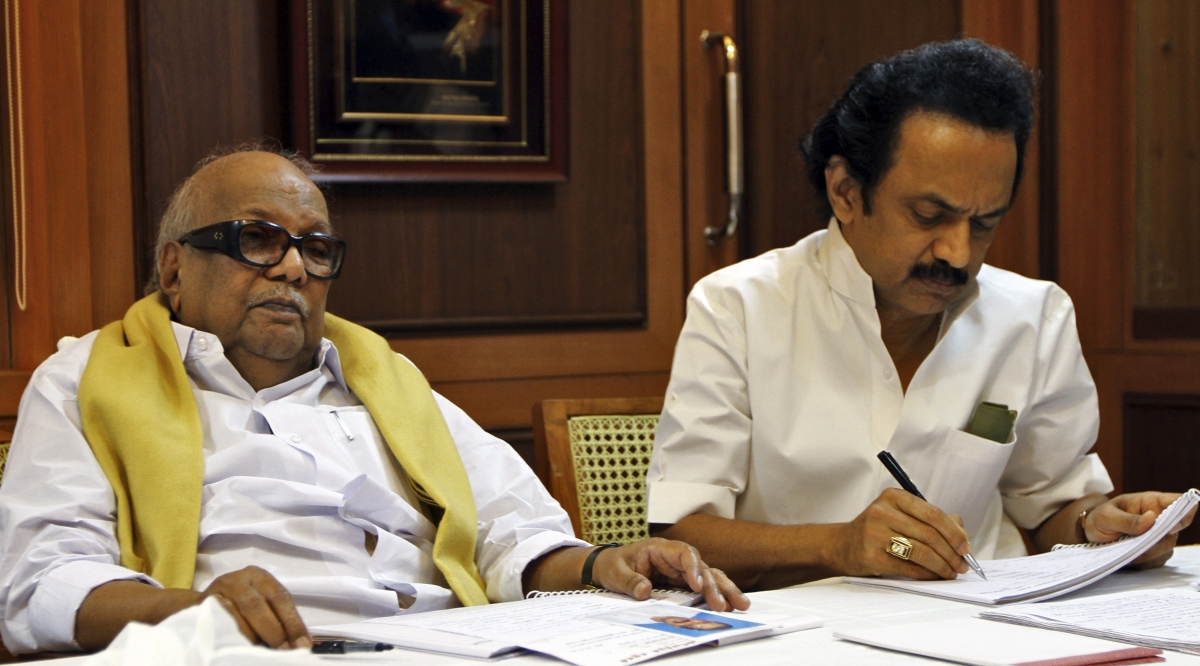Mk Stalin (left) studies papers next to his father Dravida Munnetra Kazhagam, who named him after the Soviet dictator