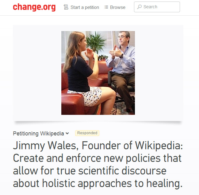 Holistic medicine practitioners want Wikipedia to change its rules on energy medicine