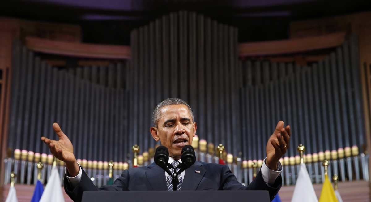 U.S. President Barack Obama delivers a speech Palais des Beaux-Arts (BOZAR) in Brussels,