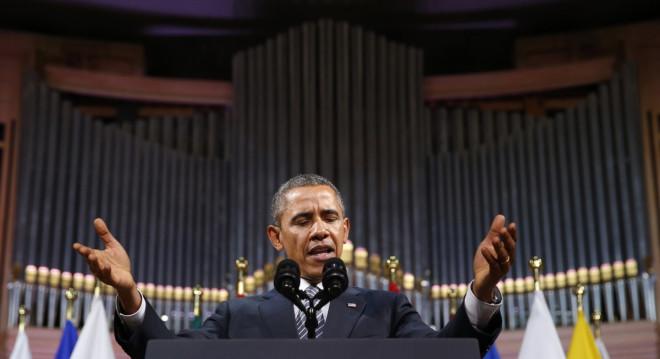 U.S. President Barack Obama delivers a speech Palais des Beaux-Arts (BOZAR) in Brussels,