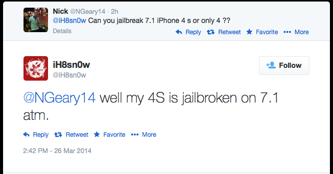 Evasi0n7 Untethered Jailbreak: iH8sn0w Confirms Jailbreaking iPhone 4s on iOS 7.1
