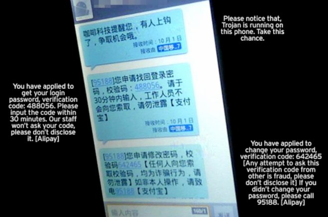 Different types of malicious spam SMS text messages being sent in China