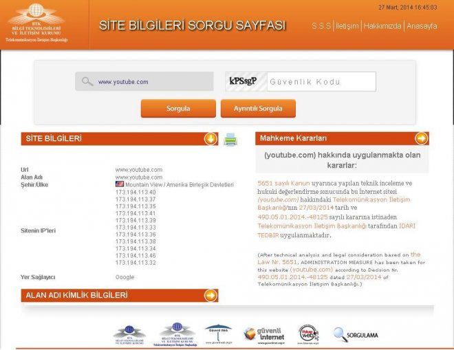 Turkish telecoms authority (TIB) says has taken 'administrative measure' against YouTube in Turkey