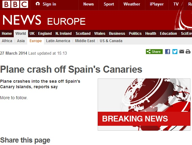 Canary Islands Aircraft-Shaped Ship Trigger Plane Crash Scare
