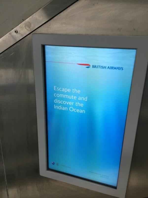 The BA advert at Euston station