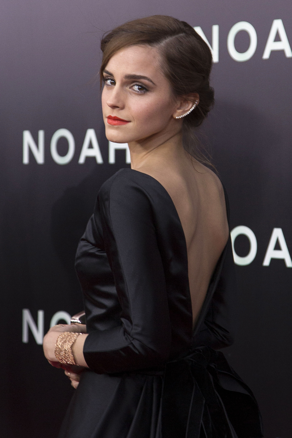 Emma Watson Steals The Show In Backless Ball Gown At Noah