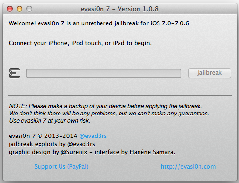 Evasi0n 7 1.0.8 Released: How to Jailbreak iOS 7.0 - 7.0.6 Untethered with Fix for Build 11A466