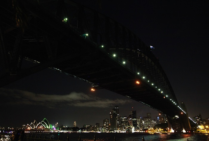 The Sydney Harbour Bridge is stripped of its usual fluorescent splendour for Earth Hour, which is now in its eighth year.