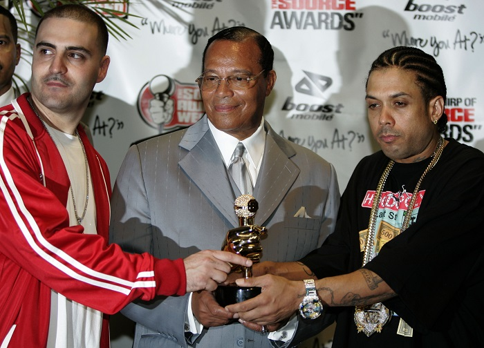 Benzino (right), pictured with Reverend Louis Farrakhan (centre) and David Mays (left) at the Source Hip-Hop Music Awards in Miami, Florida.