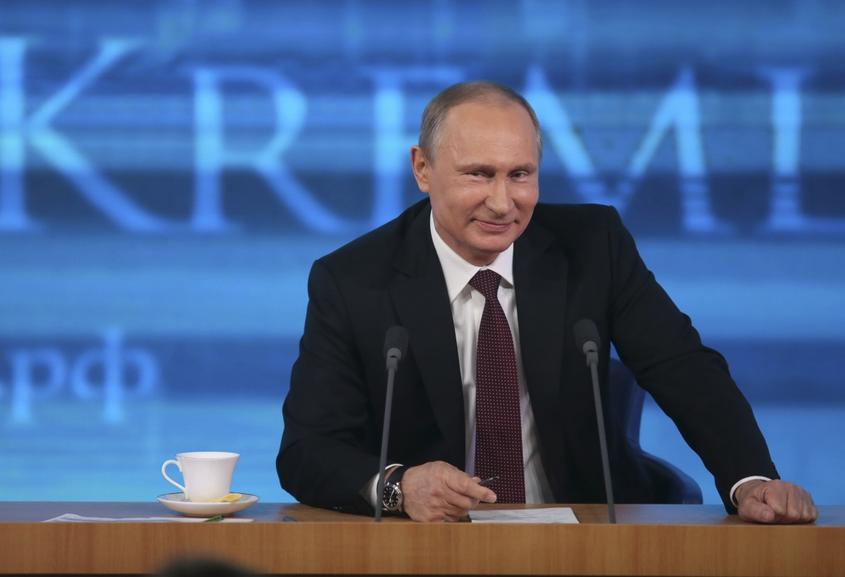 President Vladimir Putin appears on Russian state news agency RIA Novosti in December, 2013.