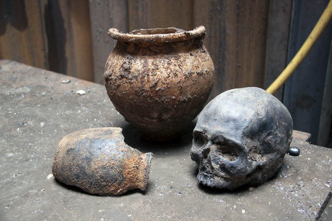 A Roman skull found by Crossrail at Liverpool Street ticket hall construction site
