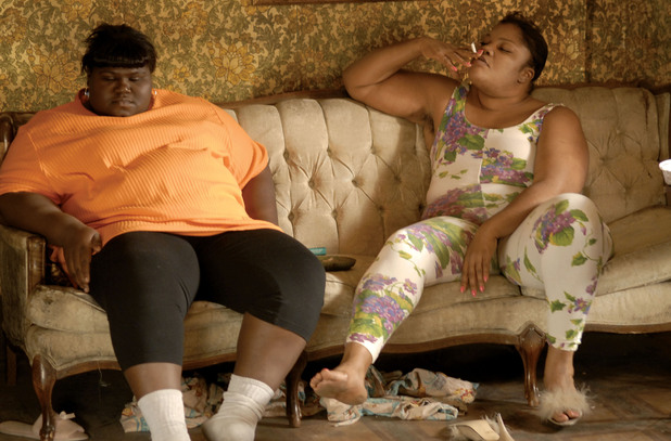 Monique Angela Hicks (R) plays the mother of Precious Claireece Precious Jones (Gabourey Sidibe)